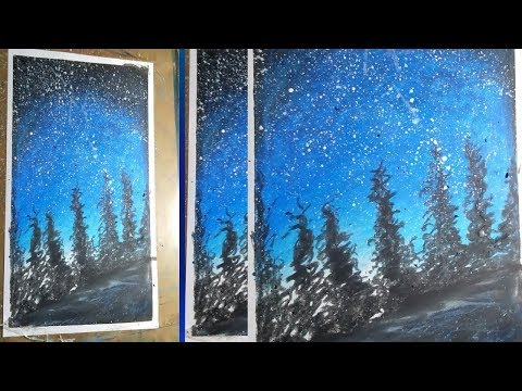 Painting a night sky atop a city landscape with acrylic colour||night sky painting tutorial