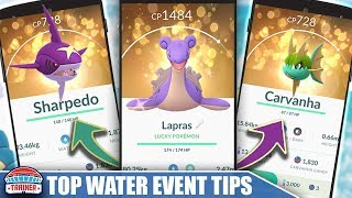TOP 5 TIPS to MAXIMIZE THE WATER EVENT! SHINY CARVAHNA & BARBOACH + WATER SPAWNS | POKÉMON GO!