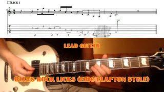 Blues Rock Pentatonic Licks (Clapton Style) GUITAR LESSON with TAB