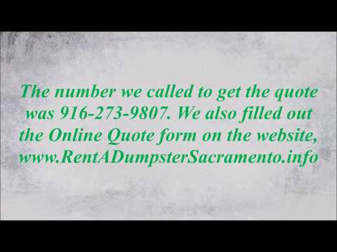 How much does it cost to rent a dumpster in Sacramento? Who has lowest cost dumpster rental?