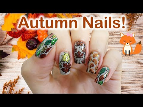Autumn Leaves Stamping Nail Art