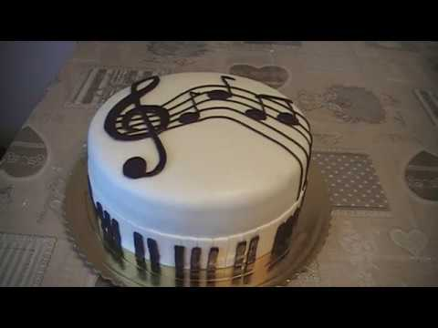 Piano cake sheet music decoration cake for musician for Fomic sheet decoration youtube