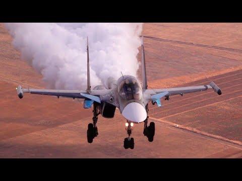 Минобороны опубликовало уникальные кадры посадки самолета Су-34
