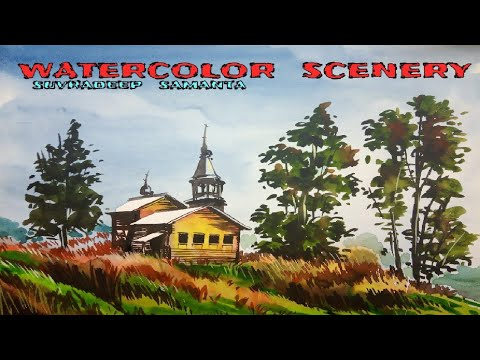 Watercolor/painting watercolor scenery/drawing/how to/learn tutorial,/ step by step/