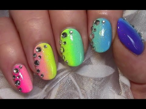 bunte ombre n gel mit strass sommer regenbogen nageldesign colorful summer nail art youtube. Black Bedroom Furniture Sets. Home Design Ideas