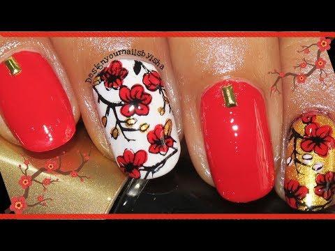 Chinese New Year Nail Art Tutorial  Designyournailsbyisha