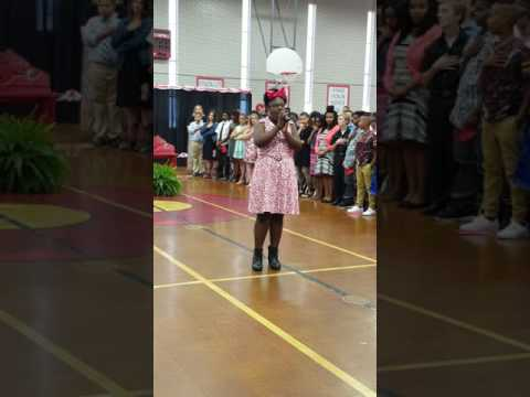 National Anthem sang by six grader at College Hill Middle School