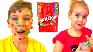 Magic candies on the face
