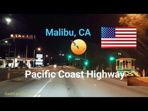 2017 Los Angeles Driving Tour: night drive through Malibu, CA along the PCH