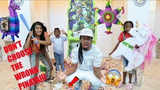 DON'T CHOOSE THE WRONG PINATA CHALLENGE - LOSER GETS WORMS