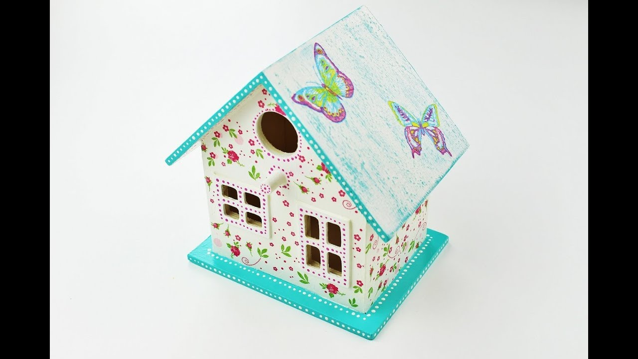 Decoupage wooden house , Decoupage on wood , Decoupage Tutorial , Decoupage  for beginners