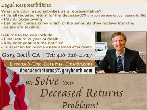 Legal Responsibilities | Deceased-Tax-Returns-Canada.com (Toronto Services)