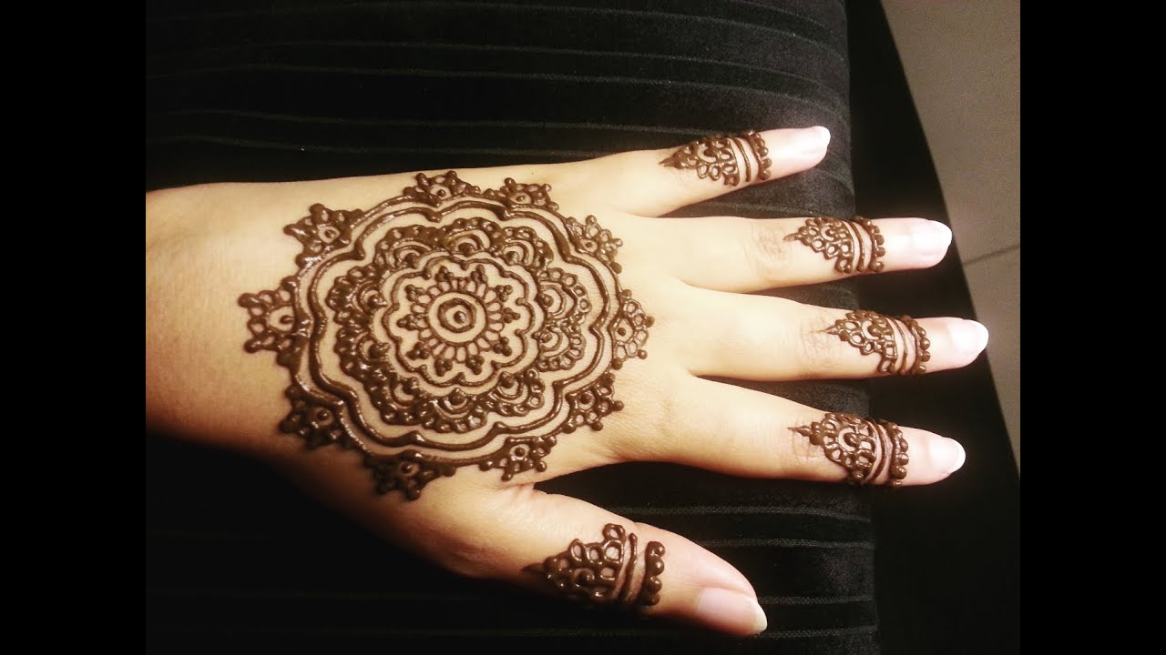 mandala flower henna simple arabic floral mehendi design