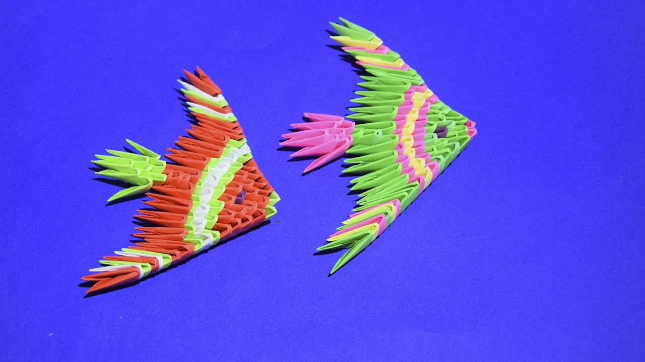 3D origami a beautiful Fish Angelfish Tutorial for ... - photo#20