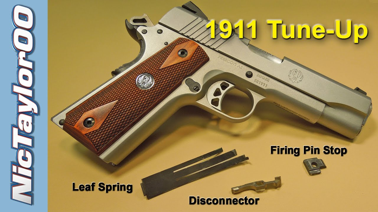 1911 Pistol Tune Up - Polishing the Leafspring / Disconnector & Firing Pin  Stop