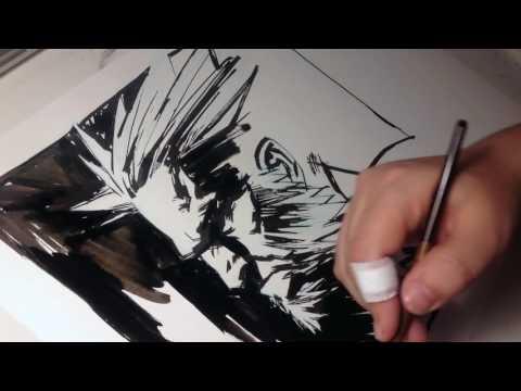 Wolverine timelapse ink sketch