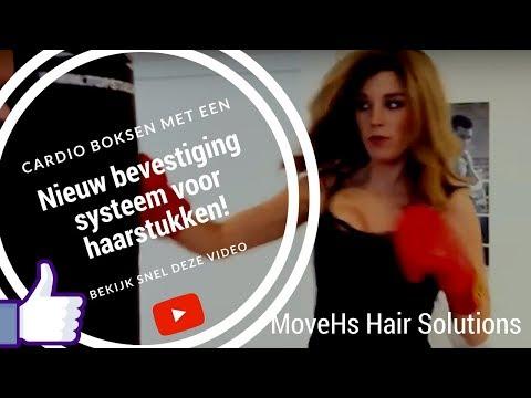 Cardio Boksen met een haarstuk van MoveHs Hair Solutions. Nieuw bevestigingssysteem.