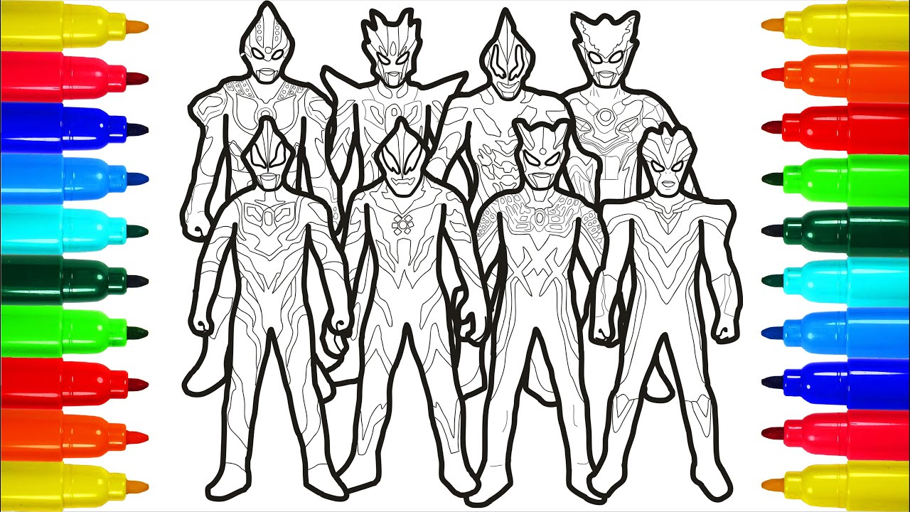 Ultraman Fight Kaiju Doll Monster Altman Zero Geed Belial Spiderman Iron Man coloring pages