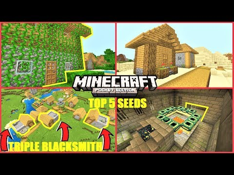 Minecraft PE - TOP 5 SEEDS! TRIPLE Blacksmith Village, Jungle Village, Dungeon & More | MCPE 1.13