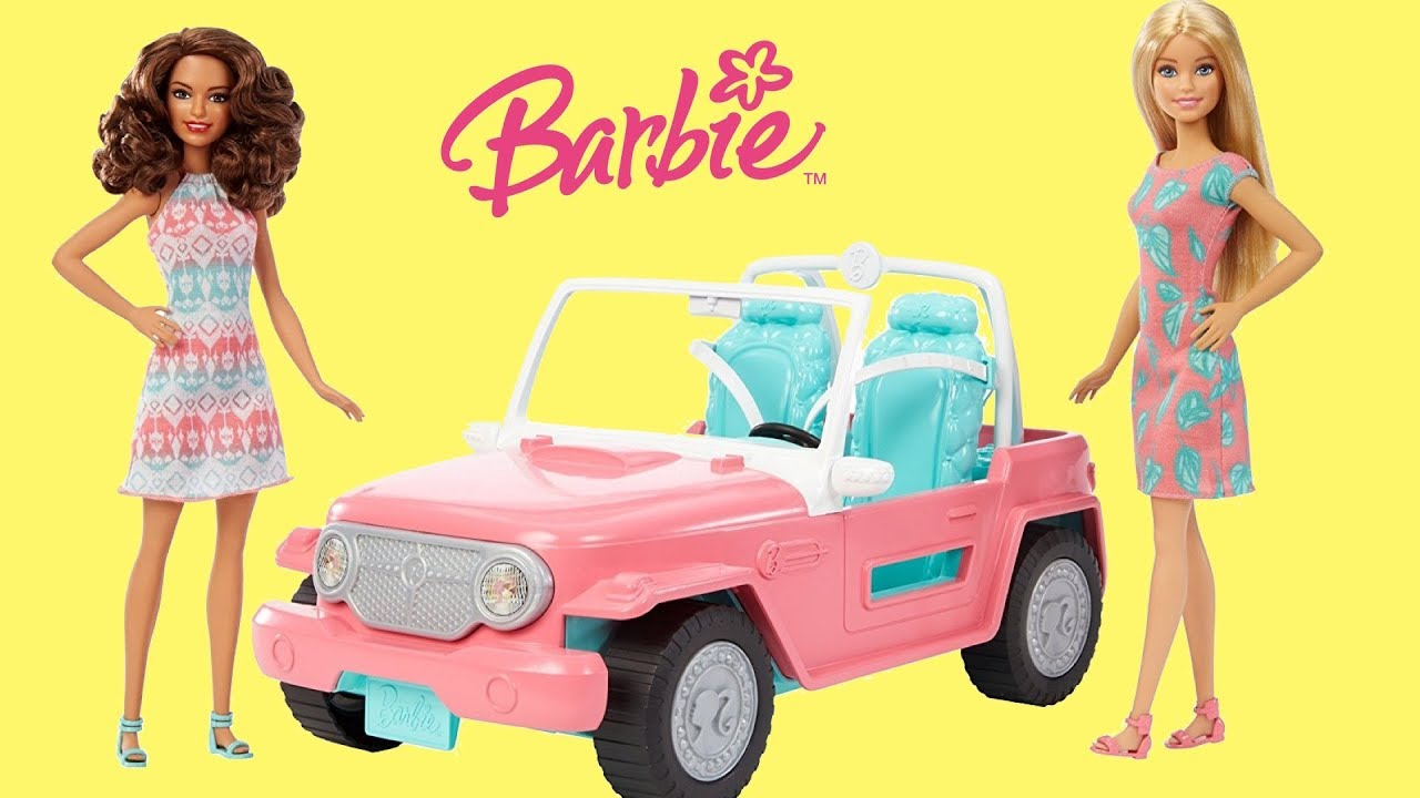 Barbie Pink Jeep Unboxing Play Dolls Vehicle Toys Youtube Boneka Hello Kitty Wedding14ampquotn A