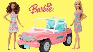 Barbie Pink Jeep Unboxing  & Play Barbie Dolls Vehicle Toys