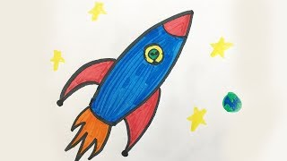 How to draw and color a Space Ship -for kids!
