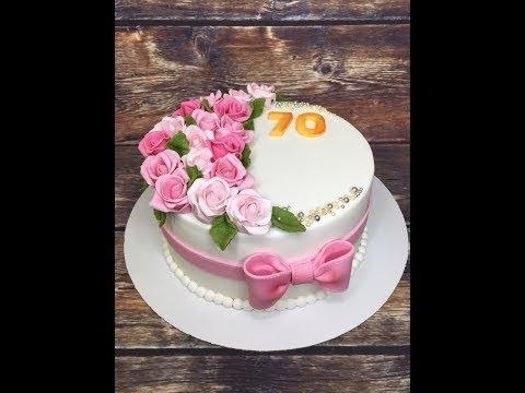 оформление торта с розами на 70 лет  / How To Make A Cake With Roses