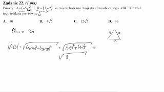 Punkty A=−5,2 i B=3,−2 są wierzchołkami trójkąta równobocznego ABC  Obwód tego trójkąta jest równy
