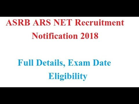 ASRB ARS NET Recruitment 2018 Notification: Apply Online