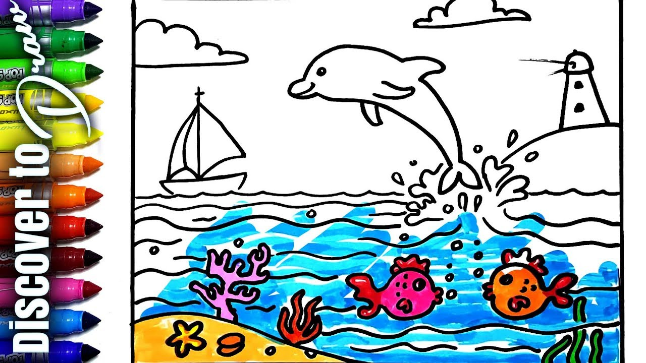 How To Draw Scenery Of Dolphin Easy To Draw And Color Beach And Boat