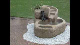 Wasserspiel - Granitkaskade mit Bronzefigur