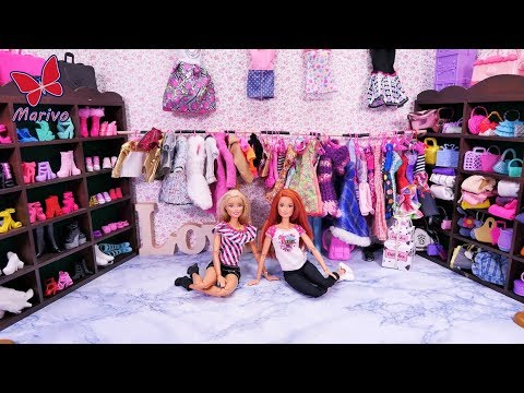 Barbie Faily #6 * A HUGE BARBIE WARDROBE 🎀 COLLECTION OF SHOES, CLOTHES BAGS * Story kids dolls