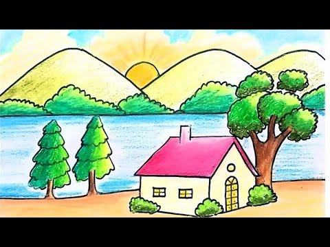 Easy landscape drawing for kids and beginners Learn how to draw a house and nature simple painting