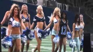 The Dallas Cowboys Cheerleaders dance to drumline music
