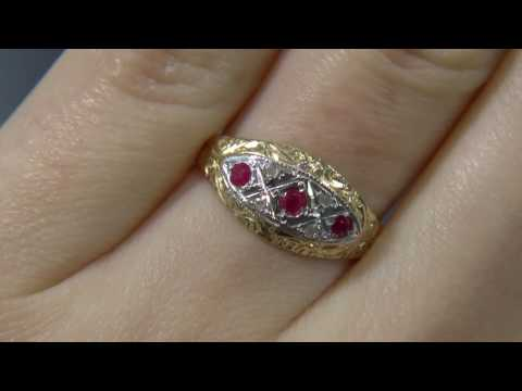 00613-MTC064-Ruby and Diamond Antique Ring