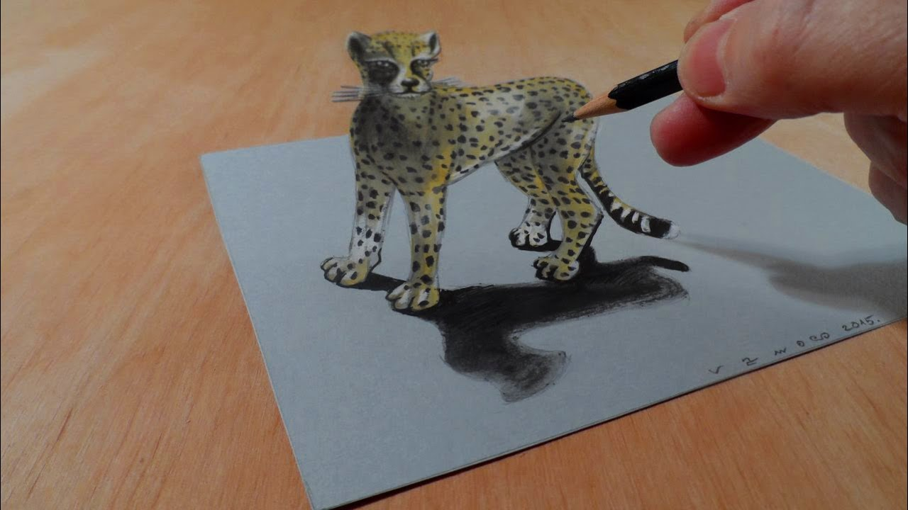 Drawing  3D Cheetah - Amazing Animals - Illusionistic Art