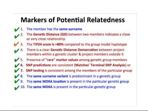 Reasons for grouping Surname Project Members to specific genetic groups