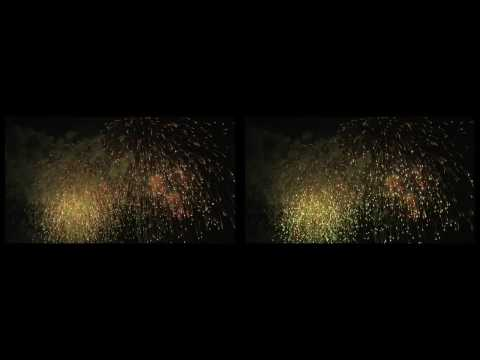 3D Stereoscopic Movie of Fireworks Display