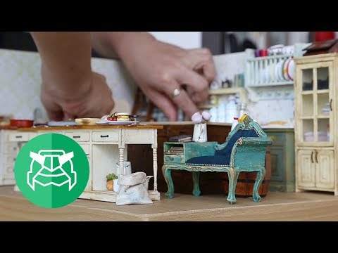 "Miniature antique kitchen, ""This is paper?"""