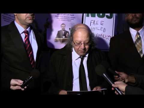 Protest to free Al Jazeera journalists in Egypt