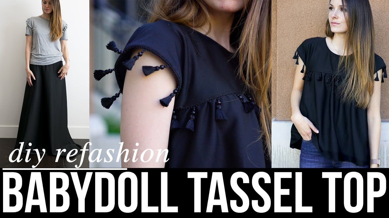 54e008ad How to make a DIY babydoll top with tassels refashion - YouTube