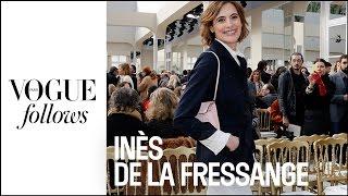 Vogue follows Ines de la Fressange at Chanel during Paris Fashion Week #VogueFollows
