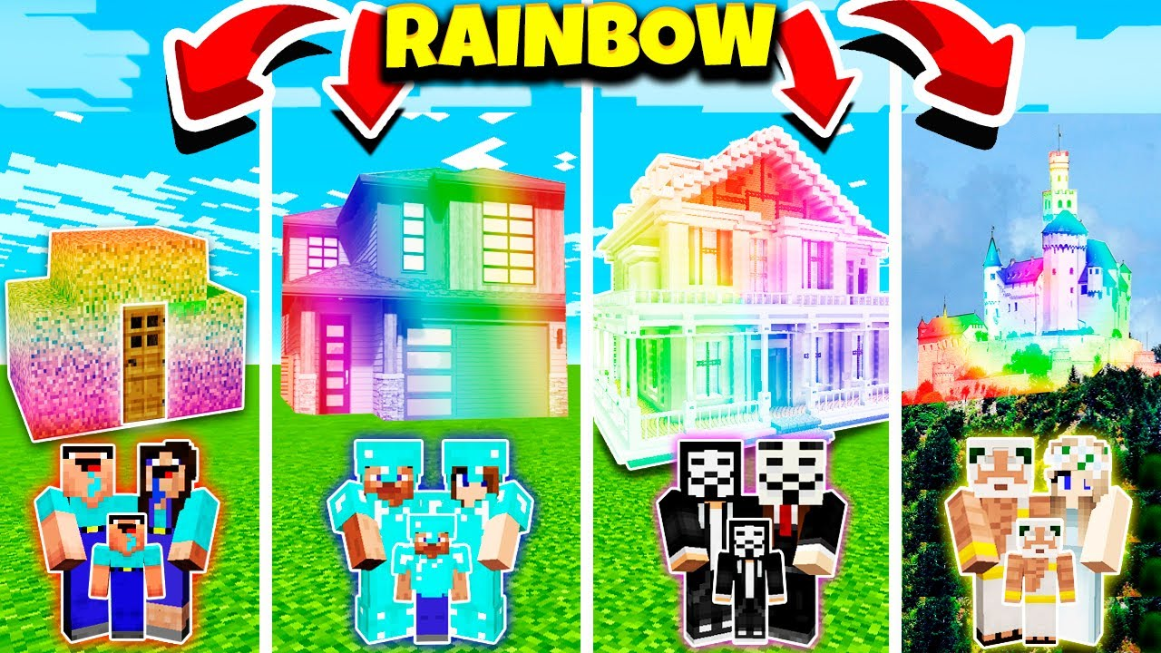 Download Minecraft:FAMILY RAINBOW HOUSE BUILD CHALLENGE - NOOB vs PRO vs HACKER vs GOD in Minecraft Animation