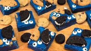 Cookie Monster Fudge & Cookie Monster Chocolate Candy Bark (Easy No Bake)