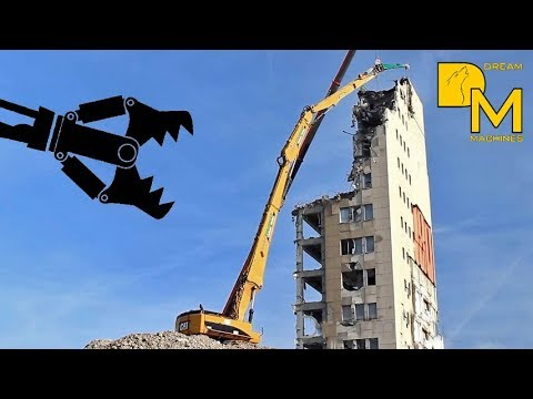 POWERFUL CATERPILLAR 385C HIGH REACH DEMOLITION EXCAVATOR RIPPING DOWN BUILDING