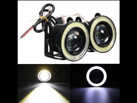 Противотуманные LED фары купить дёшево. Мощные противотуманные фонари линзы с ангельскими глазками