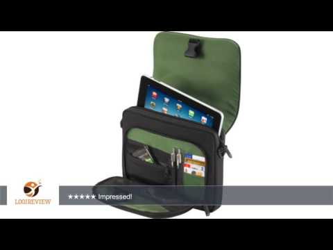 Targus Spruce EcoSmart Mini Messenger Case for Apple iPad, Samsung Galaxy Tab, Black/Green Accents