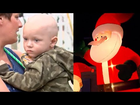 Vandals Pop Inflatable Santa In Terminally Ill Boy's Early Christmas Decorations