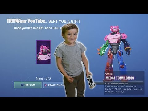 TRUMAnn Gives *5 YEAR OLD KID* NEW Fortnite Epic Skin 'MECHA' (Transformer/Power Ranger Outfit)