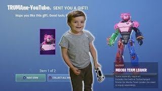 TRUMAnn Gives *5 YEAR OLD KID* NEW Fortnite Epic Skin 'MECHA' (Transformer/Power Ranger Outfit)